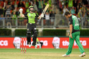 Eoin Morgan celebrates after hitting a last-ball six off Ben Hilfenhaus to win the game, Sydney Thunder v Melbourne Stars, BBL, Sydney Showground Stadium, January 4, 2016