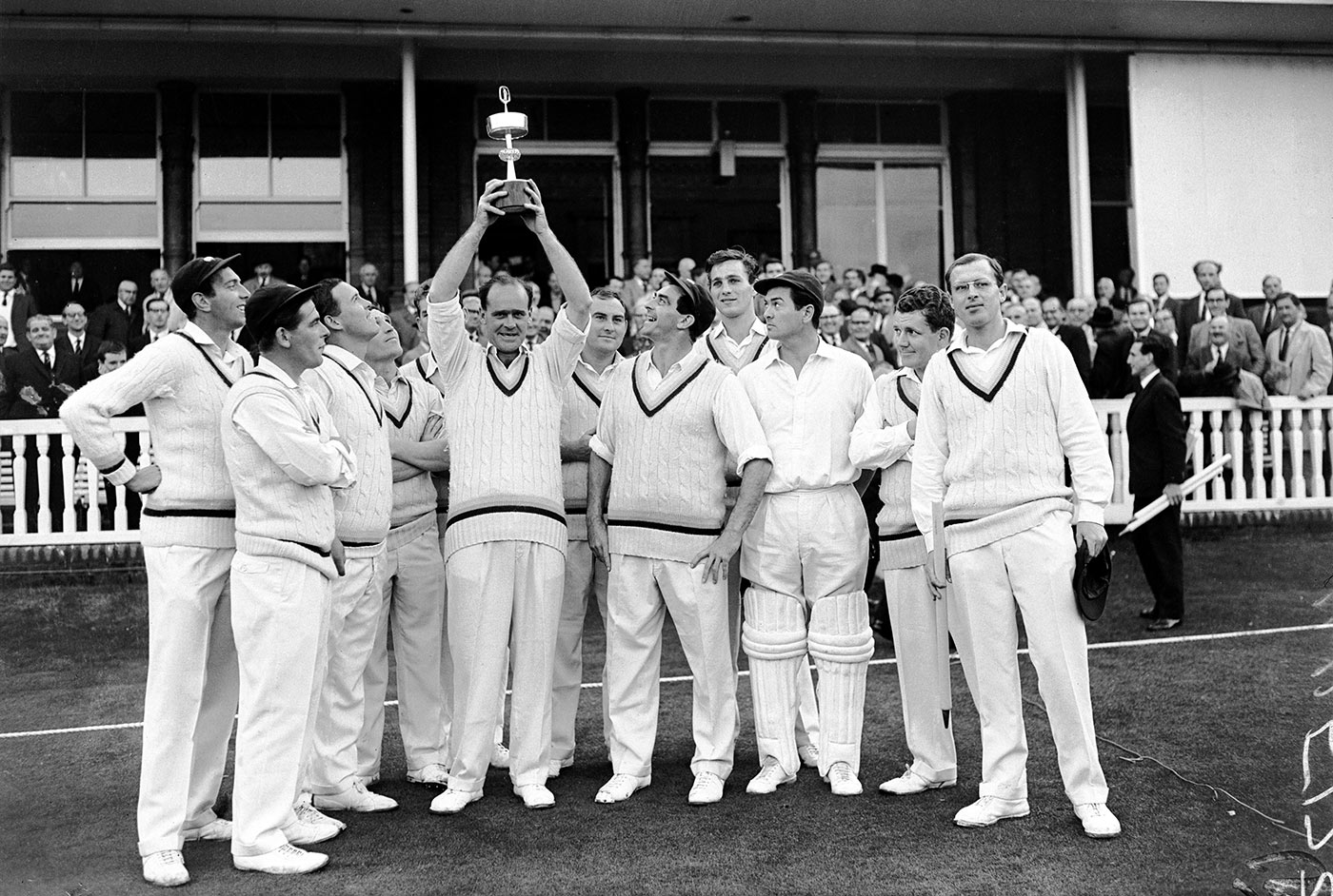 Hampshire (third from left) with his 1965 Gillette Cup-winning Yorkshire team-mates - among them Brian Close (holding trophy), Illingworth and Trueman (to Close's left)