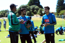 Courtney Walsh and Mashrafe Mortaza have a word with Taskin Ahmed, New Zealand v Bangladesh, 2nd T20I, Mt. Maunganui, January 5, 2017