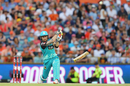 Brendon McCullum's bat breaks as he tries to power one down the ground, Scorchers v Heat, Big Bash League 2016-17, Perth, January 5, 2017