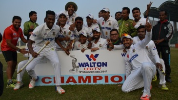 Khulna Division celebrate after successfully defending their title