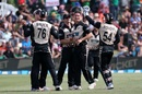 Ben Wheeler is mobbed by his team-mates, New Zealand v Bangladesh, 2nd T20I, Mount Maunganui, January 6, 2017
