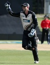Tom Bruce took the wicketkeeping gloves after Luke Ronchi left the field due to a groin strain, New Zealand v Bangladesh, 2nd T20I, Mount Maunganui, January 6, 2017