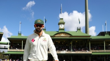 Hometown boy Nathan Lyon framed against the Members Pavilion