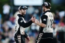 Kane Williamson and Corey Anderson congratulate each other, New Zealand v Bangladesh, 3rd T20I, Mount Maunganui, January 8, 2017