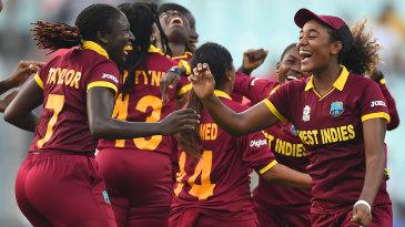 Stafanie Taylor and Hayley Matthews celebrate West Indies' victory