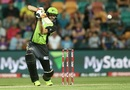 Kurtis Patterson drives the ball, Hobart Hurricanes v Sydney Thunder, BBL 2016-17, Hobart, January 8, 2017