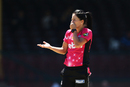 Marizanne Kapp reacts after bowling, Sydney Sixers v Perth Scorchers, Women's Big Bash League 2016-17, Sydney, January 9, 2017