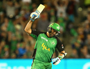 Ben Hilfenhaus celebrates after hitting the winning run, Melbourne Stars v Adelaide Strikers, Big Bash League 2016-17, Melbourne, January 10, 2017