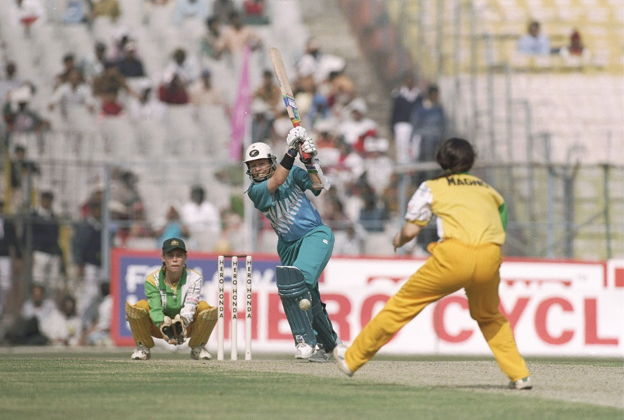Hockley bats during her 79 in the World Cup final in 1997: