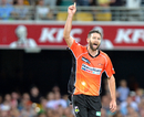 Andrew Tye took a hat-trick and returned figures of 4 for 22, Brisbane Heat v Perth Scorchers, Big Bash League 2016-17, Brisbane, January 11, 2017