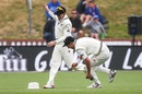 Trent Boult and Henry Nicholls compete to retrieve the umpire's hat, New Zealand v Bangladesh, 1st Test, Wellington, 1st day, January 12, 2017