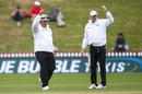 Umpires Marais Erasmus and Paul Reiffel suspend play in the 29th over after rain hit again, New Zealand v Bangladesh, 1st Test, Wellington, 1st day, January 12, 2017
