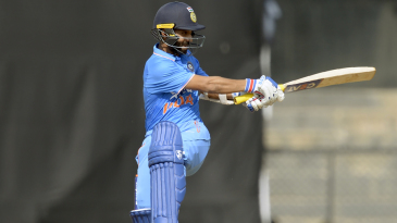 Ajinkya Rahane gets on top of the bounce and plays into the leg side