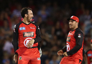 Tom Cooper and Aaron Finch celebrate a wicket, Melbourne Renegades v Hobart Hurricanes, BBL 2016-17, Melbourne, January 12, 2017