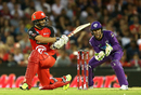 Tom Cooper plays a sweep during his unbeaten 24-ball 53, Melbourne Renegades v Hobart Hurricanes, BBL 2016-17, Melbourne, January 12, 2017