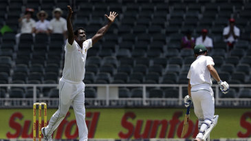 Angelo Mathews ended his wait for a wicket when he trapped Stephen Cook lbw