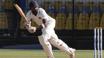 Suryakumar Yadav nudges the ball on to the leg side