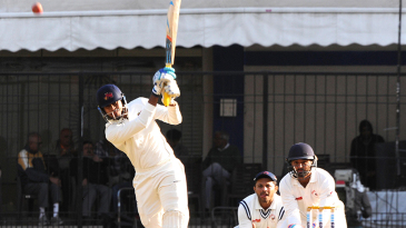 Shreyas Iyer plays a lofted shot in his 82