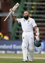 Hashim Amla celebrates a century in his 100th Test, South Africa v Sri Lanka, 3rd Test, Johannesburg, 1st day, January 12, 2017