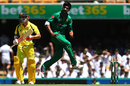 Mohammad Amir exults after bowling David Warner, Australia v Pakistan, 1st ODI, Brisbane, January 13, 2017