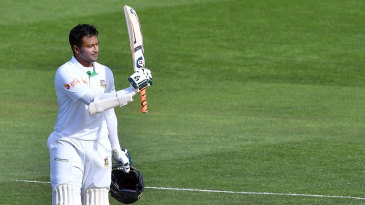 Shakib Al Hasan registered his first double-century in Test cricket