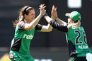Gemma Triscari, who picked up three wickets in one over, celebrates with Kristen Beams, Melbourne Stars v Adelaide Strikers, Women's Big Bash League 2016-17, Perth, January 13, 2017