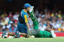 Azhar Ali gets some assistance after pulling up with a cramp, Australia v Pakistan, 1st ODI, Brisbane, January 13, 2017