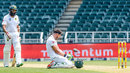 Faf du Plessis takes a breather after being struck amidships, South Africa v Sri Lanka, 3rd Test, Johannesburg, 2nd day, January 13, 2017