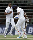 Vernon Philander removed Dimuth Karunaratne in the first over, South Africa v Sri Lanka, 3rd Test, Johannesburg, 2nd day, January 13, 2017