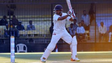 Priyank Panchal chases a ball outside off