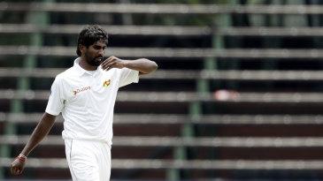 Nuwan Pradeep prepares to bowl