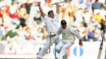 Darren Gough and Mark Butcher celebrate the final wicket