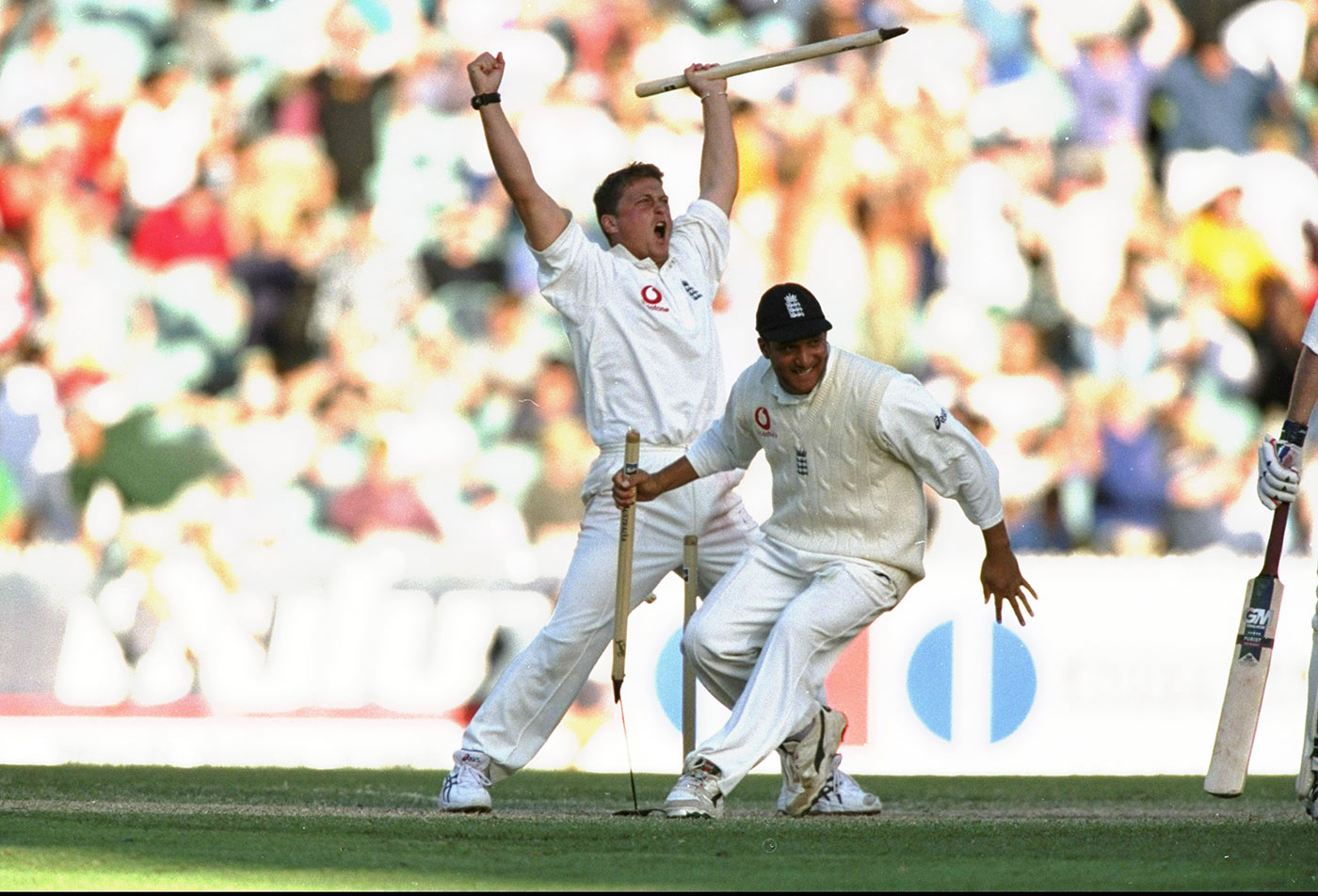 Darren Gough and Mark Butcher celebrate the final wicket