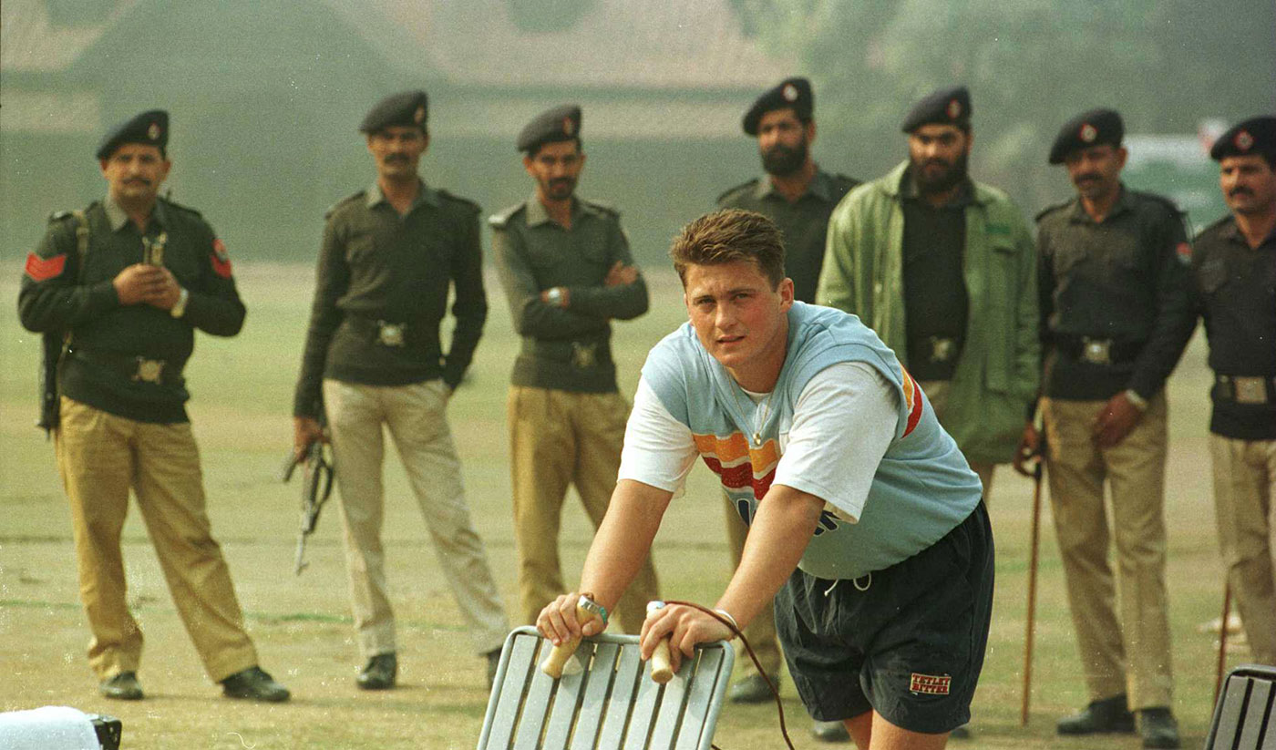 Security men in Lahore in 1996 get a load of a famous posterior