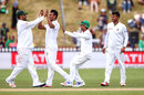 Kamrul Islam Rabbi celebrates with team-mates after accounting for Ross Taylor, New Zealand v Bangladesh, 1st Test, Wellington, 3rd day, January 14, 2017