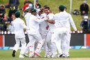 Taskin Ahmed is surrounded by team-mates after claiming Kane Williamson for his maiden Test wicket, New Zealand v Bangladesh, 1st Test, Wellington, 3rd day, January 14, 2017