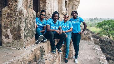Hayley Matthews, Deandra Dottin, Anisa Mohammed and Stafanie Taylor pose for photographs in Vijaywada