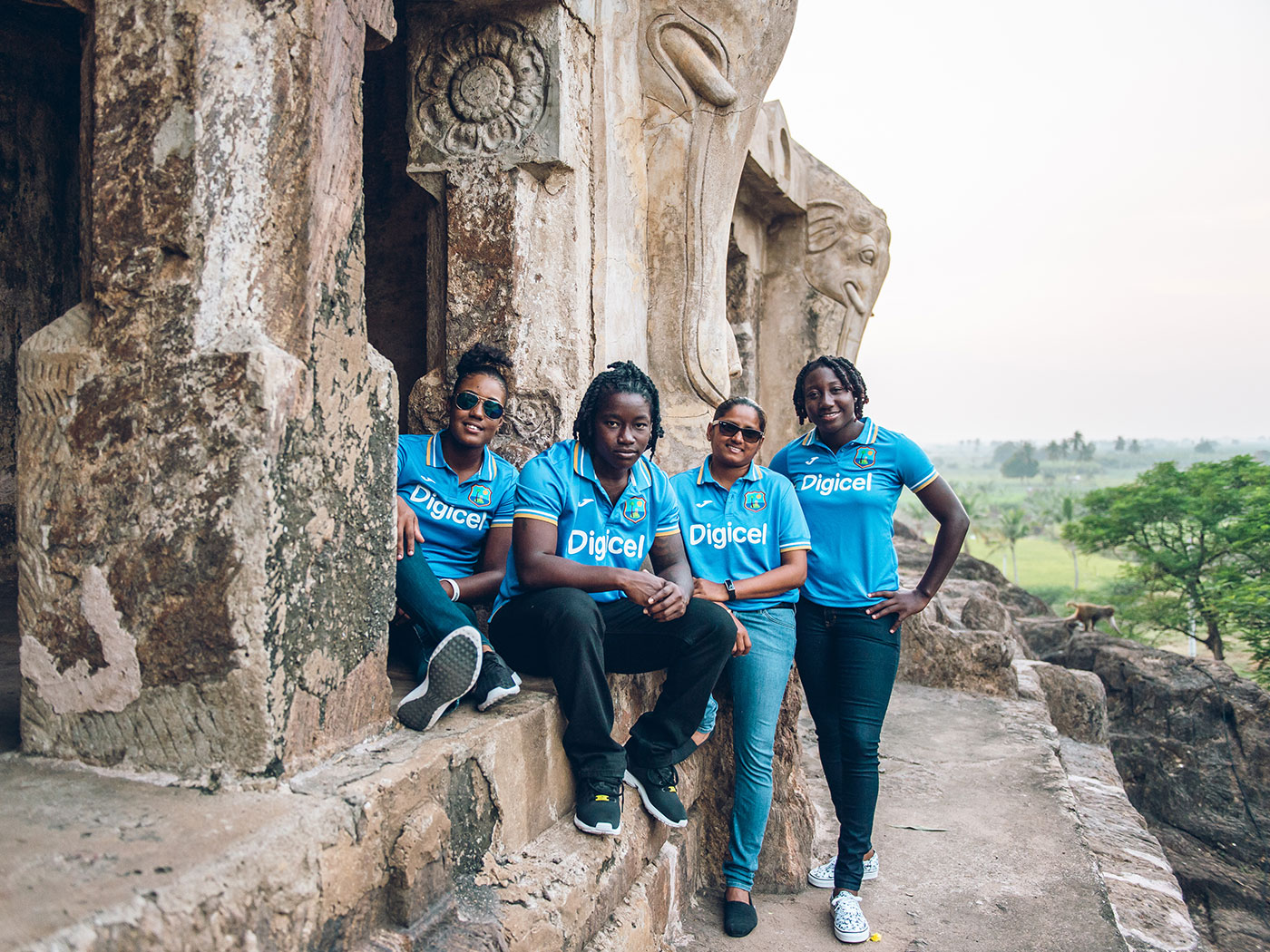 Hayley Matthews, Deandra Dottin, Anisa Mohammed and Stafanie Taylor pose for photographs in Vijaywada