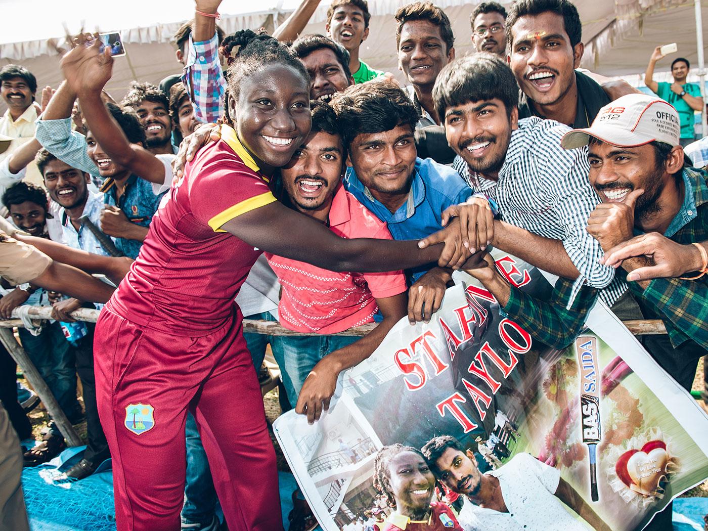 Taylor hugs a diehard fan in Vijayawada