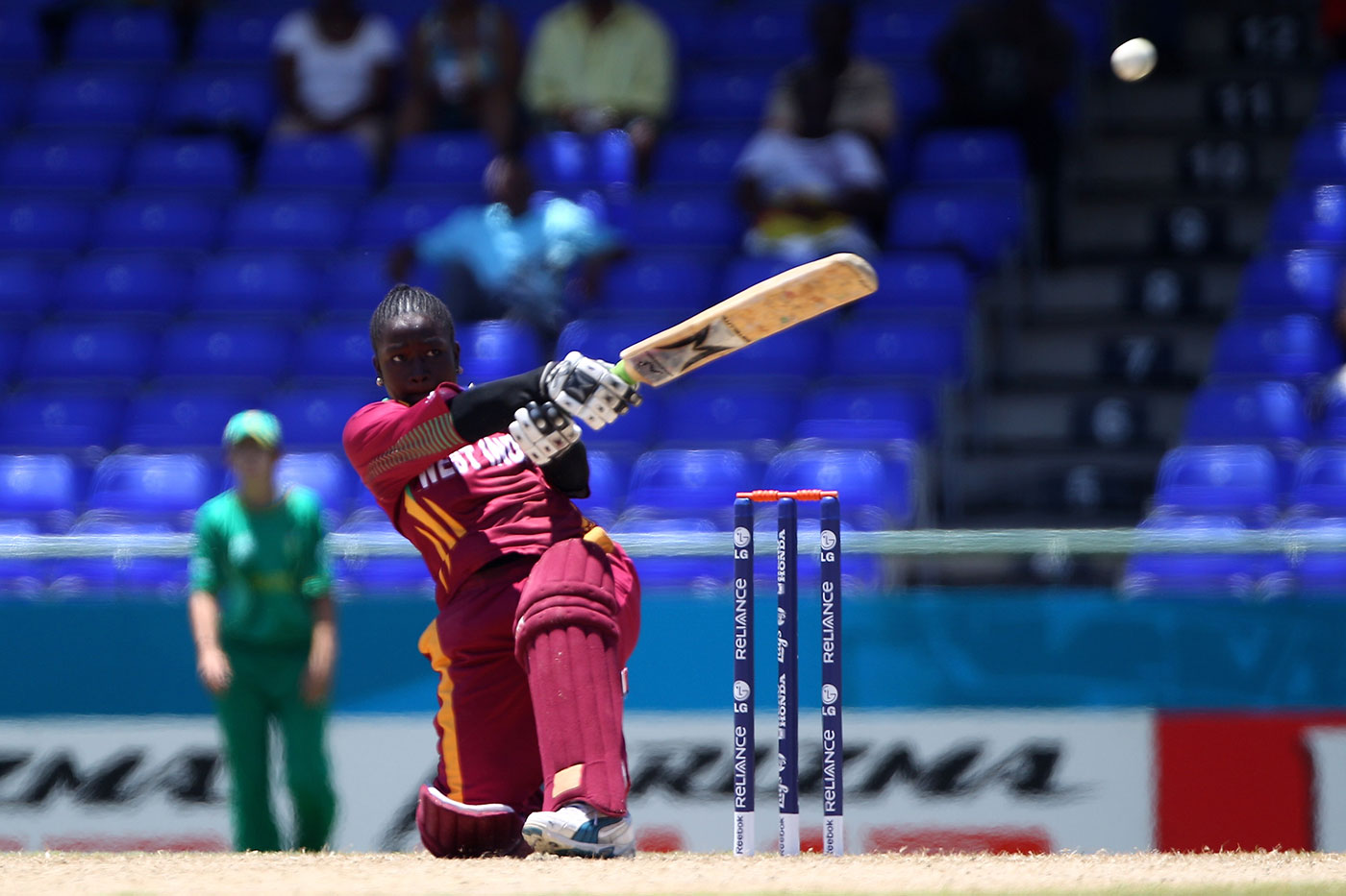 Dottin on her way to the fastest T20I hundred, against South Africa in St Kitts, 2010