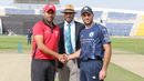 Hong Kong captain Babar Hayat and Scotland captain Kyle Coetzer at the coin toss for the opening match at the Desert T20, Hong Kong v Scotland, Desert T20, Group B, Abu Dhabi, January 14, 2017