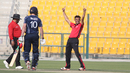 Ehsan Khan celebrates his second wicket in the over after Kyle Coetzer is caught at cover, Hong Kong v Scotland, Desert T20, Group B, Abu Dhabi, January 14, 2017