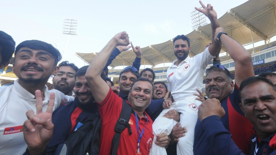 Parthiv Patel is triumphantly hoisted after his match-winning knock