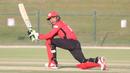 Shahid Wasif sweeps for a boundary on his way to 40 off 25 balls, Hong Kong v Scotland, Desert T20, Group B, Abu Dhabi, January 14, 2017