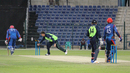 Jacob Mulder completes the runout of Najeeb Tarakai, Afghanistan v Ireland, Desert T20, Group A, Abu Dhabi, January 14, 2017