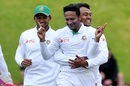 Shakib Al Hasan gets a hug from Subashis Roy after picking up a wicket, New Zealand v Bangladesh, 1st Test, Wellington, 4th day, January 15, 2017