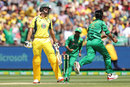 Mohammad Amir celebrates after Mitchell Marsh fell for a golden duck, Australia v Pakistan, 2nd ODI, Melbourne, January 15, 2017