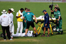 Imrul Kayes is attended to after hurting his hip during a dive, after being hit, New Zealand v Bangladesh, 1st Test, Wellington, 4th day, January 15, 2017