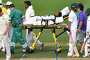 Imrul Kayes is stretchered off after hurting his hip during a dive, after being hit, New Zealand v Bangladesh, 1st Test, Wellington, 4th day, January 15, 2017